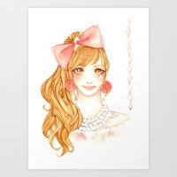 girly Art Prints featuring Girly by ilovevanilla