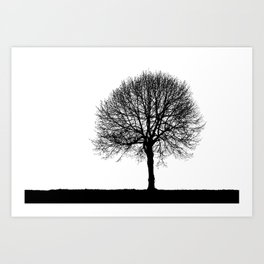 Silhouette of a lonely tree Art Print