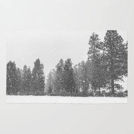 Snow Days // Snowy Tree Black and White Winter Landscape Photography Ski Snowboard Woods Wall Decor Rug