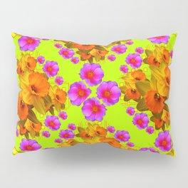 Chartreuse Color Golden Daffodil Rose Art Pillow Sham