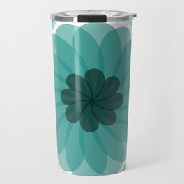 turquoise blue geometrical flower Travel Mug
