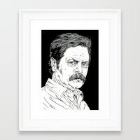 ron swanson Framed Art Prints featuring Ron Swanson by Andy Christofi