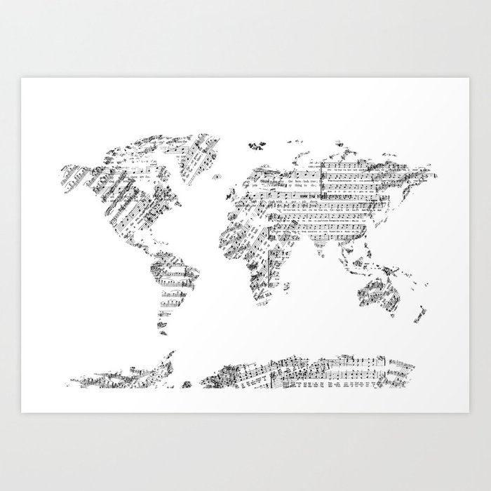 World map music vintage white art print