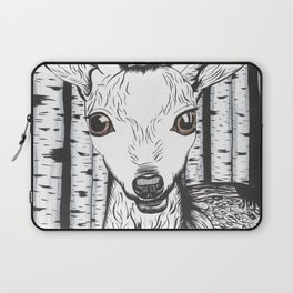 Ink and watercolor black and white doe/deer in the forest Laptop Sleeve