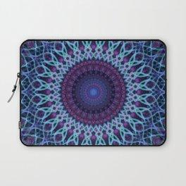 Mandala in dark and light blue tones Laptop Sleeve