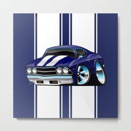 Classic American Muscle Car Street Rod Cartoon Metal Print