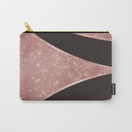 Glamorous Sparkly Rose Gold Glitter Geo Carry-All Pouch