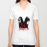rick grimes V-neck T-shirts featuring Daryl Dixon and Rick Grimes by artandawesome