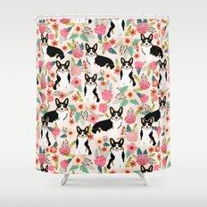 Welsh Corgi tri colored cardigan corgi dog breed must have corgi gifts for dog person pet friendly Shower Curtain