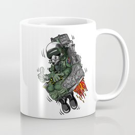 Military Fighter Jet Pilot Ejection Seat Cartoon Illustration Coffee Mug