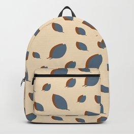 Blue leaves pattern on vanilla Backpack
