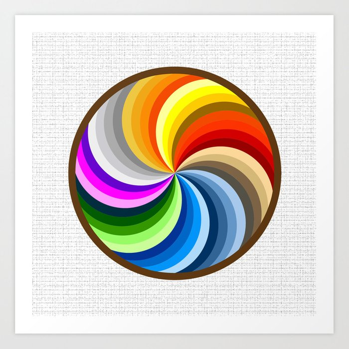 Rainbow Swirl Multi-Coloured Circle Design Art Print