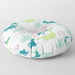 Dino Fun land Grey Floor Pillow