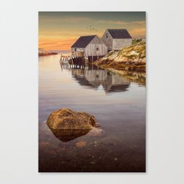 Peggy's Cove Harbor at Sunset in Nova Scotia Canvas Print