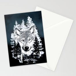 Forest Wolf Art Stationery Cards