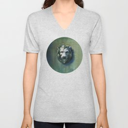 Lion Head Green Marble Unisex V-Neck