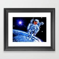 Neon Astronaut Framed Art Print
