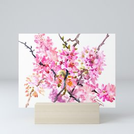 Cherry Blossom pink floral texture spring colors Mini Art Print