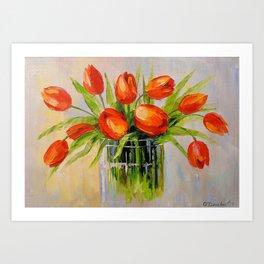 A bouquet of tulips Art Print
