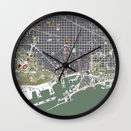 Barcelona city map engraving Wall Clock
