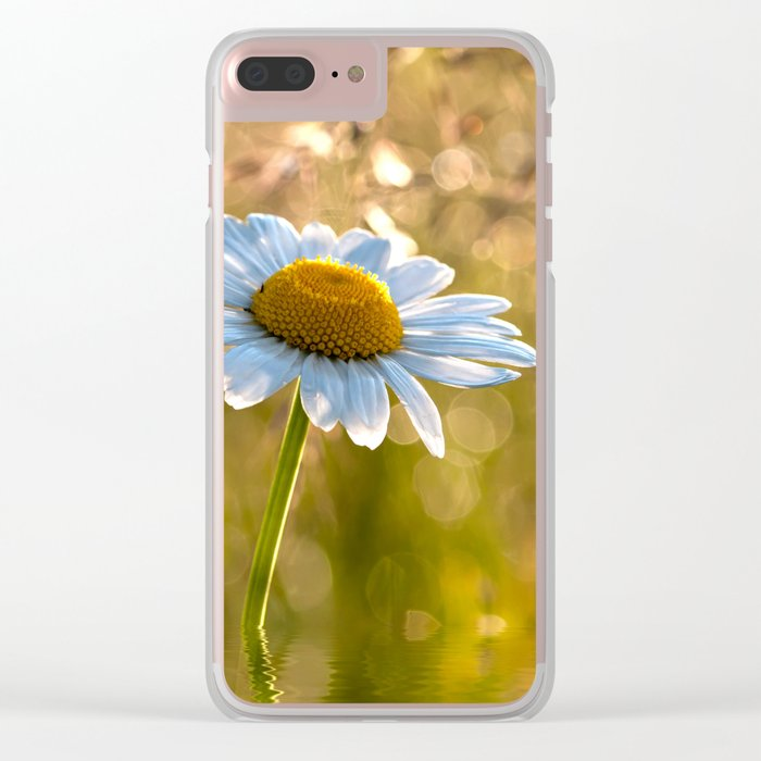 Floral Daisy Flower Flowers in a meadow after rain on #Society6 Clear iPhone Case