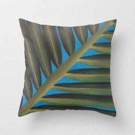 Tropical palm frond leaf Throw Pillow