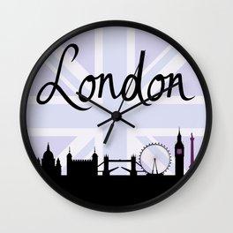 London Script on Union Jack Sky & Sites Purple Wall Clock
