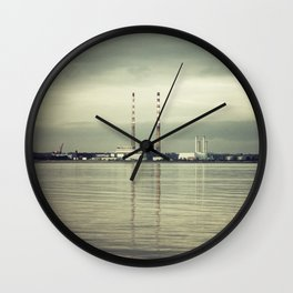 Poolbeg Chimneys Dublin 2017 Wall Clock