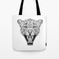 leopard Tote Bags featuring Leopard by Libby Watkins Illustration