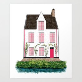 Pink and White House in Bruges Art Print