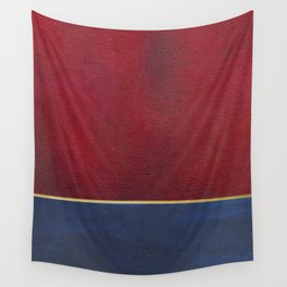 Deep Blue, Red And Gold Abstract Painting Wall Tapestry