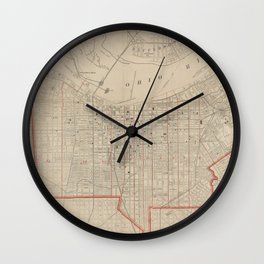Vintage Map of Louisville KY (1880) Wall Clock