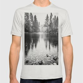 Forest Reflection Lake - Black and White  - Nature Photography T-shirt