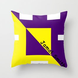 Ninja Square Yellow and Purple Throw Pillow