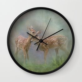 Vintage Painting Of The Innocence Of Two Deer Snuggling Wall Clock