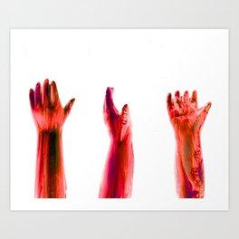 Freaky Halloween Broken Doll Zombie Hands Art Print