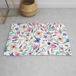 Pretty pink purple green watercolor flowers Rug