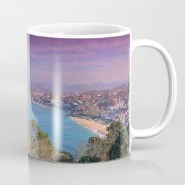 La Concha Bay seen from Igeldo Mount. Coffee Mug