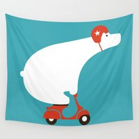 watch Wall Tapestries featuring Polar bear on scooter by Picomodi