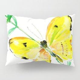 Yellow Butterfly, children butterfly decor kids room, girls room yellow decor butterfly art Pillow Sham