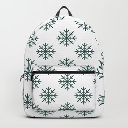Snowflakes (Dark Green & White Pattern) Backpack