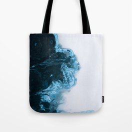 Abstract Aerial Lake in Iceland – Minimalist Landscape Photography Tote Bag