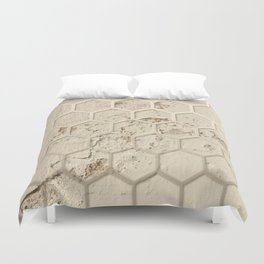 Hexagon on Beige Grunge Wall Duvet Cover