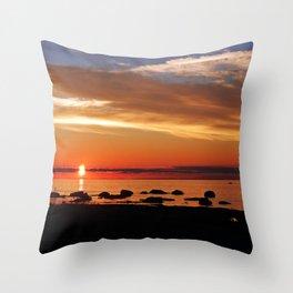 Split Sun Sunset on the Sea Throw Pillow