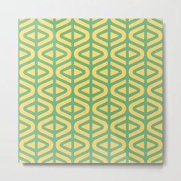 Mid Century Modern Split Triangle Pattern Green and Yellow 2 Metal Print