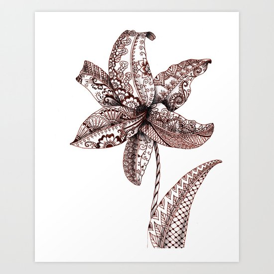 Henna Lily Art Print