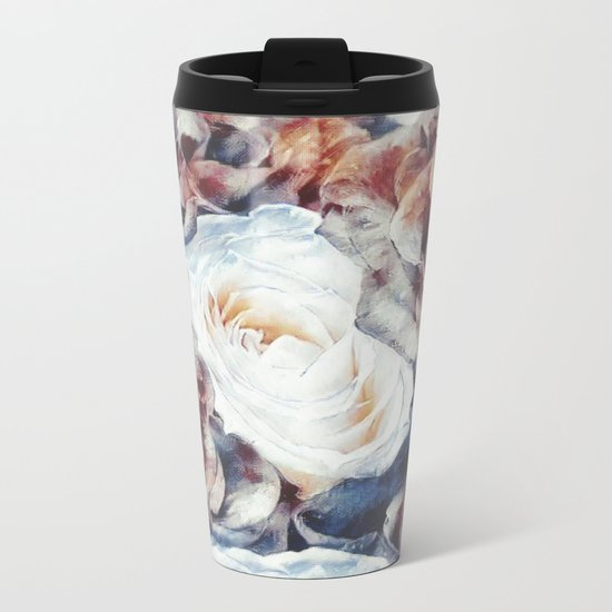 Roses print in retro drawing style watercolor digital Metal Travel Mug