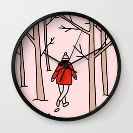 Girl Walking Through the Woods Wall Clock