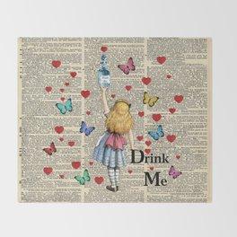 Drink Me - Vintage Dictionary Page - Alice In Wonderland Throw Blanket