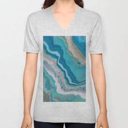 Turquoise River, Abstract Fluid Acrylic Painting Unisex V-Neck